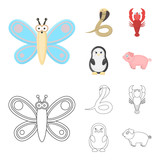 An unrealistic cartoon,outline animal icons in set collection for design. Toy animals vector symbol stock web illustration.