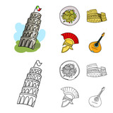 Pisa tower, pasta, coliseum, Legionnaire helmet.Italy country set collection icons in cartoon,outline style vector symbol stock illustration web.