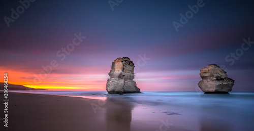 Two of the twelve apostles at sunrise from Gibsons beach, Great Ocean Road, Victoria, Australia