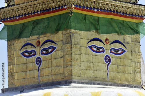 Die Augen Buddhas, tibetischer Buddhismus, Hinduismus, Tempel Swayambhunath, weißer Stupa, goldener Turm, Himalaja, Kathmandu, Kathmandutal, Nepal, Asien
