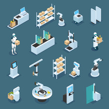 Automated Shops Isometric Icons Sticker