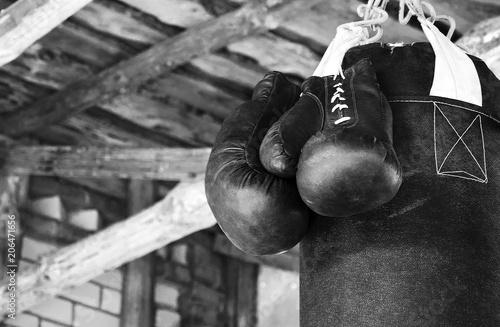 Boxing gloves on bag
