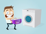 funny cartoon man with dirty laundry and washing machine - 206473289