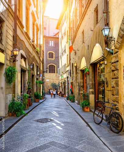 Fotobehang Florence Narrow street in Florence, Tuscany. Italy