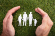 Human Hand Protecting Family Paper Cut Out
