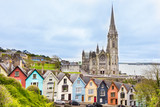 Cathedral  and colored houses in Cobh, Ireland - 206483203
