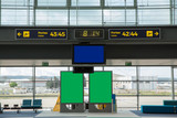 Empty waiting room at the airport terminal, with green and blue billboards to put your ads - 206486297