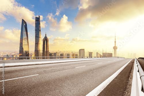 asphalt road in morden city - 206488460