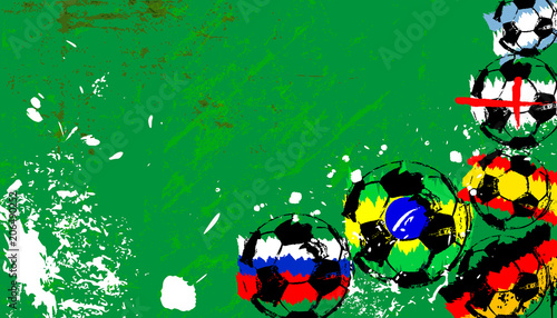 Aluminium Abstract met Penseelstreken soccer / football, balls with colors of famous national teams, free copy space