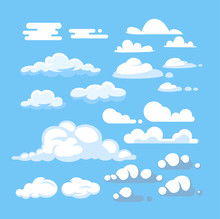 Cartoon Cloud  Set Sticker