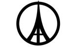 Peace and Eiffel Tower symbols on white background.