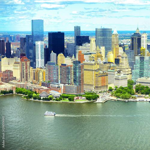 Manhattan skyline aerial view, USA
