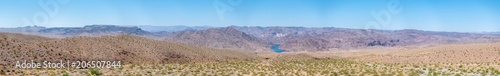 Fotobehang Arizona Panoramic View of Nevada Dessert With Large Lake in the background