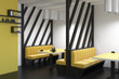Leinwanddruck Bild - Yellow sofas diner interior side view