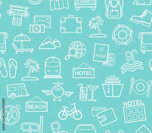 Materiał do szycia Travel, vacation, tourism, vacation, seamless pattern, monochrome, outline, blue, vector. Different types of holidays and ways of travelling. White line drawings on a turquoise field.
