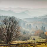 Autumn foggy mountains landscape Slovakia