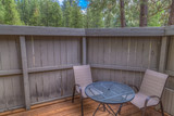 Patio furniture with forest background  - 206536484