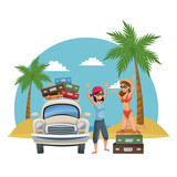Friends traveling to the beach with car vector illustration graphic design