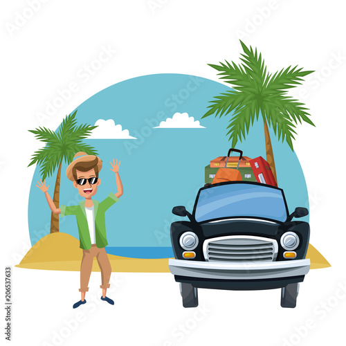 Aluminium Auto Young man traveling with car cartoons vector illustration graphic design