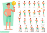 Summer holiday. People in the beach character design