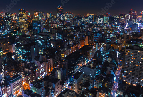 obraz lub plakat Aerial view of the cityscape of Minato, Tokyo, Japan at night