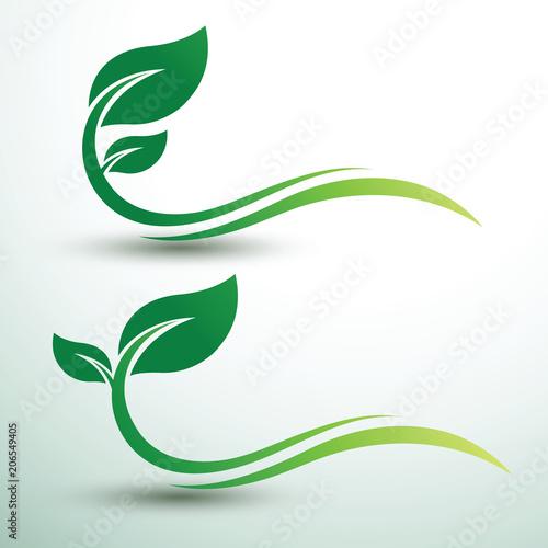 Zielone liście etykiety