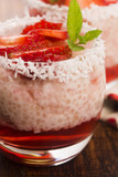 A serving of strawberry over tapioca and jelly - 206550013