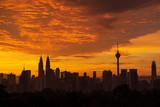 Majestic sunrise over downtown Kuala Lumpur, Malaysia