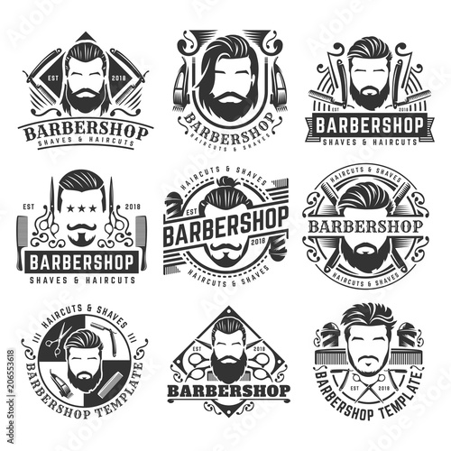 12 set of vintage Barbershop logo template collection, retro style pack, with bearded man and barber tools