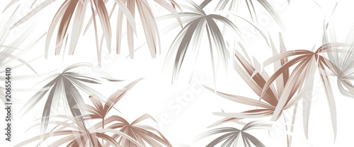 Tropical plant seamless pattern, rose gold and white palm leaves on white background - 206554410