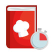 book recipes with chef hat and chronometer vector illustration design