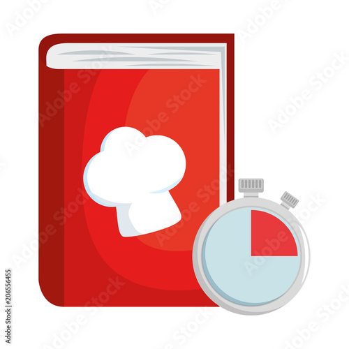 book recipes with chef hat and chronometer vector illustration design - 206556455