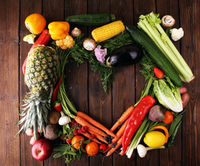 Composition with variety of raw organic vegetables and fruits. Balanced diet