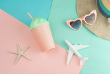 Women's accessories items on pastel colors background, Summer vacation concept - 206557876