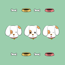 Dog Face And Icon Sticker