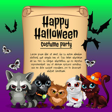 Poster On Theme Of The Halloween Holiday Sketch  Space For Text On Old Paper Sheet  Illustration Sticker