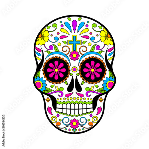 Mexican Sugar Skulls Day Of The Dead Vector Illustration On White Background