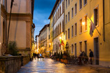 Old night street in Lucca, province of Lucca, Tuscany,  Italy
