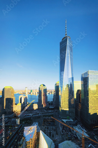 Aerial view with World Financial Center and Freedom Tower