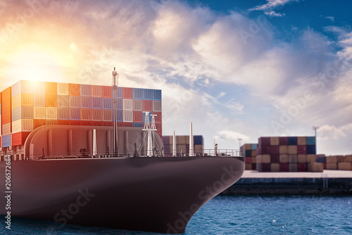 Fototapeta Cargo ship at the port ready to travel with packages. 3d rendering