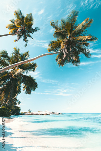 Leinwanddruck Bild Tropical Beach in Seychelles