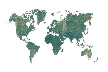 old green map of the world ,Silhouette background