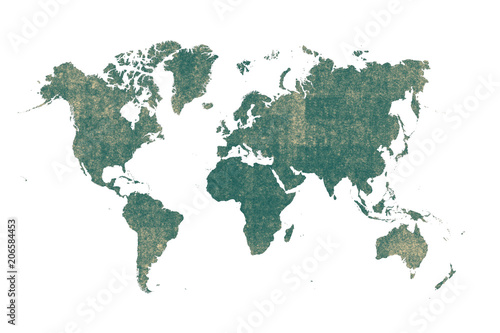 old green map of the world ,Silhouette background - 206584453