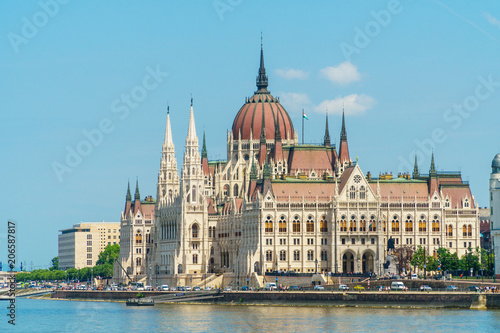 Hungarian Parliament, standing on Pest bank of Dunabe in Budapest, Hungary.