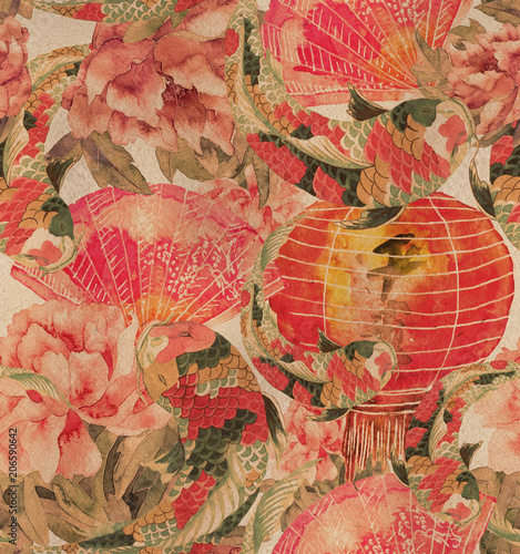 Vintage Asian seamless pattern Watercolor stock image in Asian style. fan, sakura branch.  © Арина Трапезникова