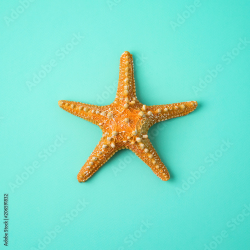 Foto Murales Minimal summer concept. Yellow starfish over blue background. View from above