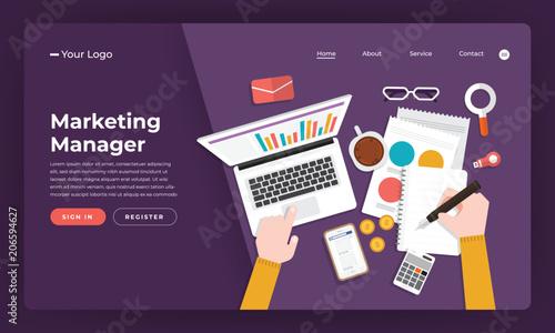 Mock-up design website flat design concept marketing manager.  Vector illustration. © emojoez