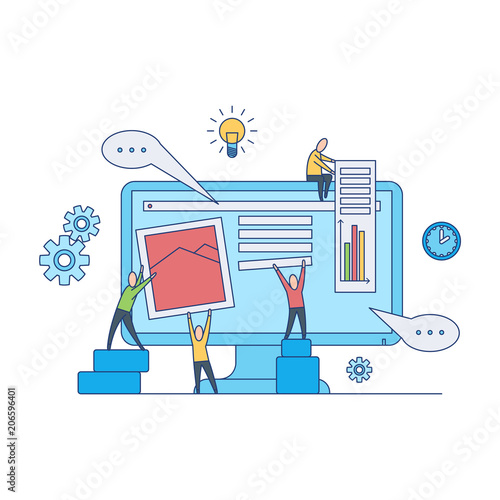 Web design development concept - web designers team work on creating and filling site page with content and data isolated on white background. Flat vector illustration.