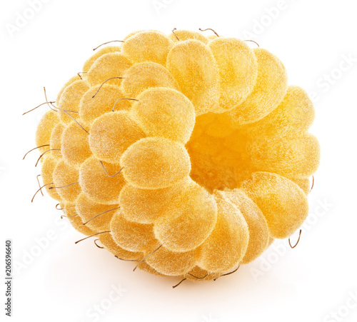 One yellow raspberry berry fruit isolated on white background