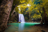 Landscape photo. Waterfall beautiful in southeast asia. Erawan waterfall kanchanaburi Thailand